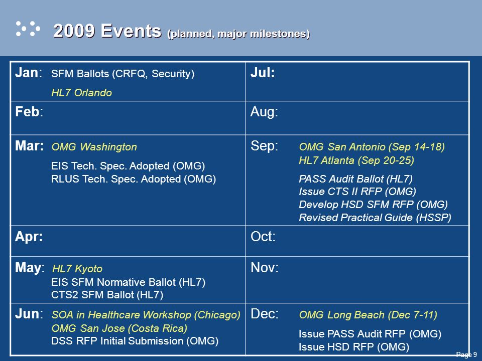 Page 9 2009 Events (planned, major milestones) Jan: SFM Ballots (CRFQ, Security) HL7 Orlando Jul: Feb:Aug: Mar: OMG Washington EIS Tech.
