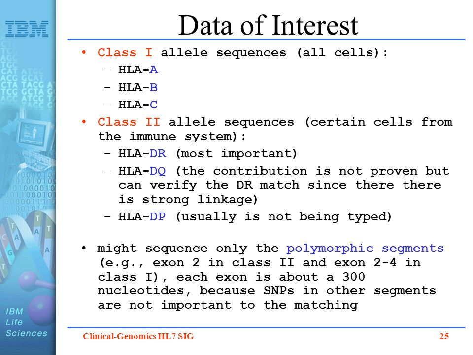 Clinical-Genomics HL7 SIG 25 Data of Interest Class I allele sequences (all cells): –HLA-A –HLA-B –HLA-C Class II allele sequences (certain cells from