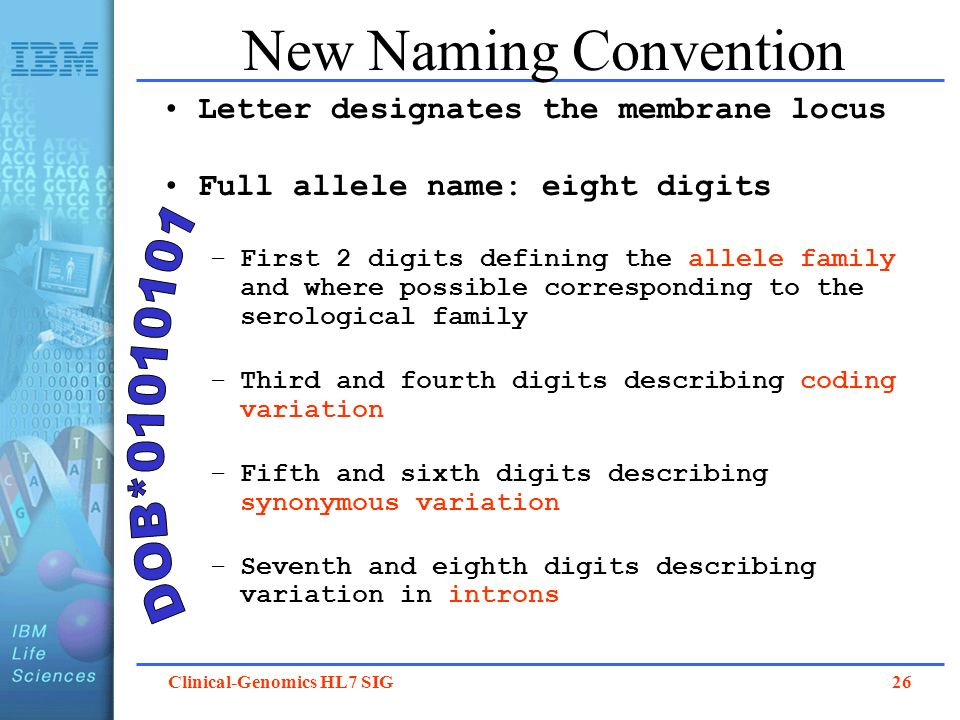 Clinical-Genomics HL7 SIG 26 New Naming Convention Letter designates the membrane locus Full allele name: eight digits –First 2 digits defining the al
