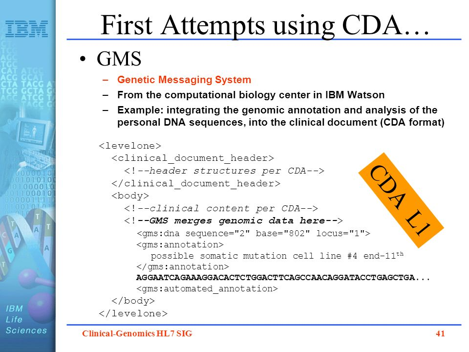 Clinical-Genomics HL7 SIG 41 First Attempts using CDA… GMS –Genetic Messaging System –From the computational biology center in IBM Watson –Example: in