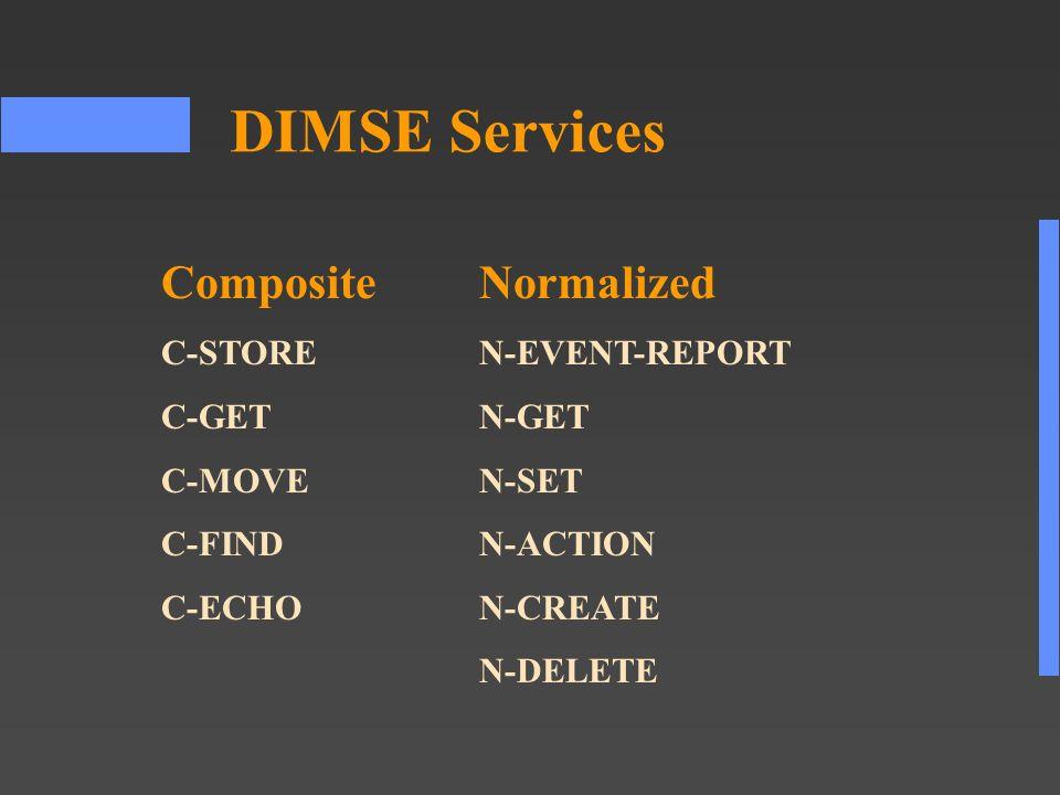 DIMSE Services CompositeNormalized C-STOREN-EVENT-REPORT C-GETN-GET C-MOVEN-SET C-FINDN-ACTION C-ECHON-CREATE N-DELETE