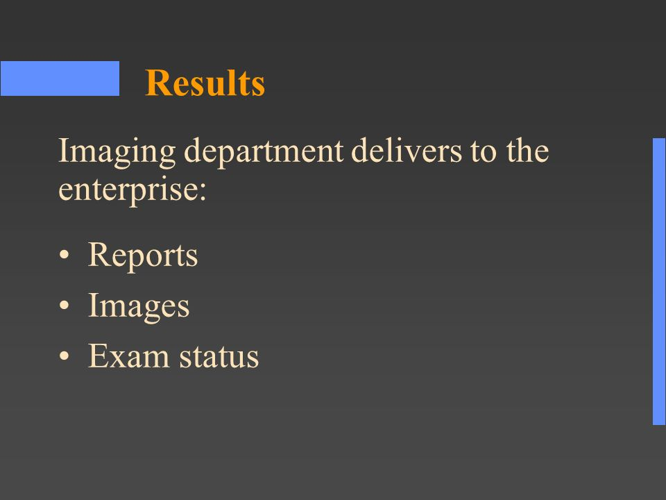 Results Reports Images Exam status Imaging department delivers to the enterprise: