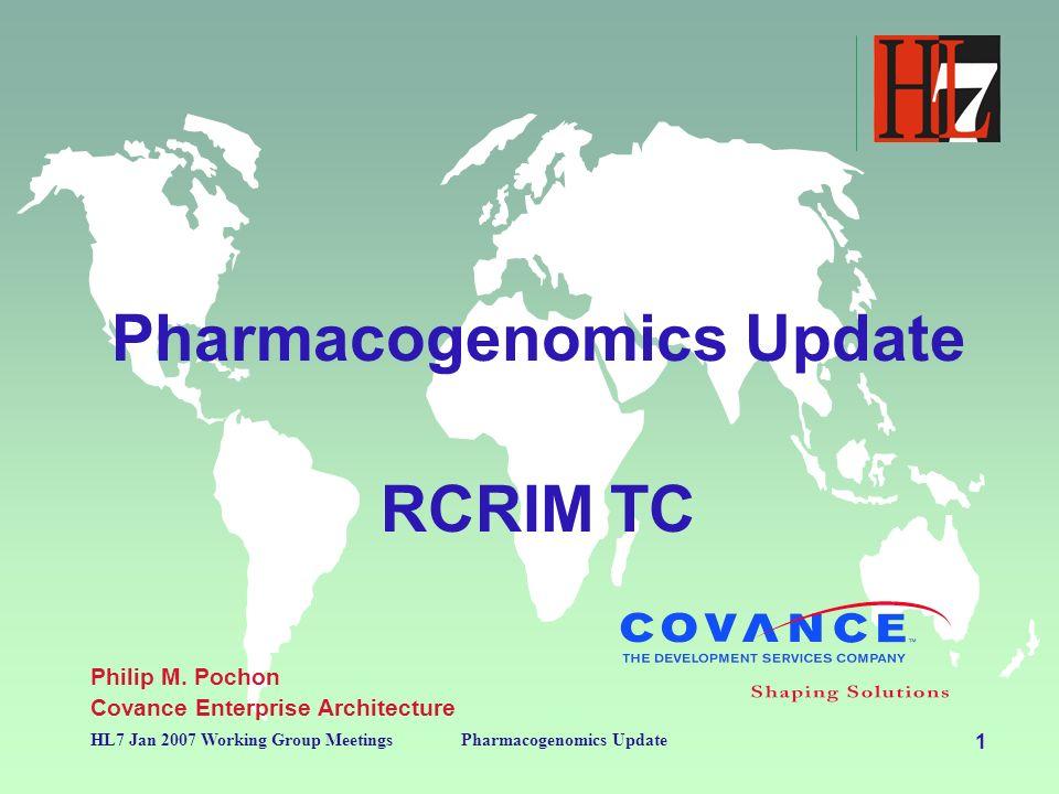 1 HL7 Jan 2007 Working Group MeetingsPharmacogenomics Update RCRIM TC Philip M.