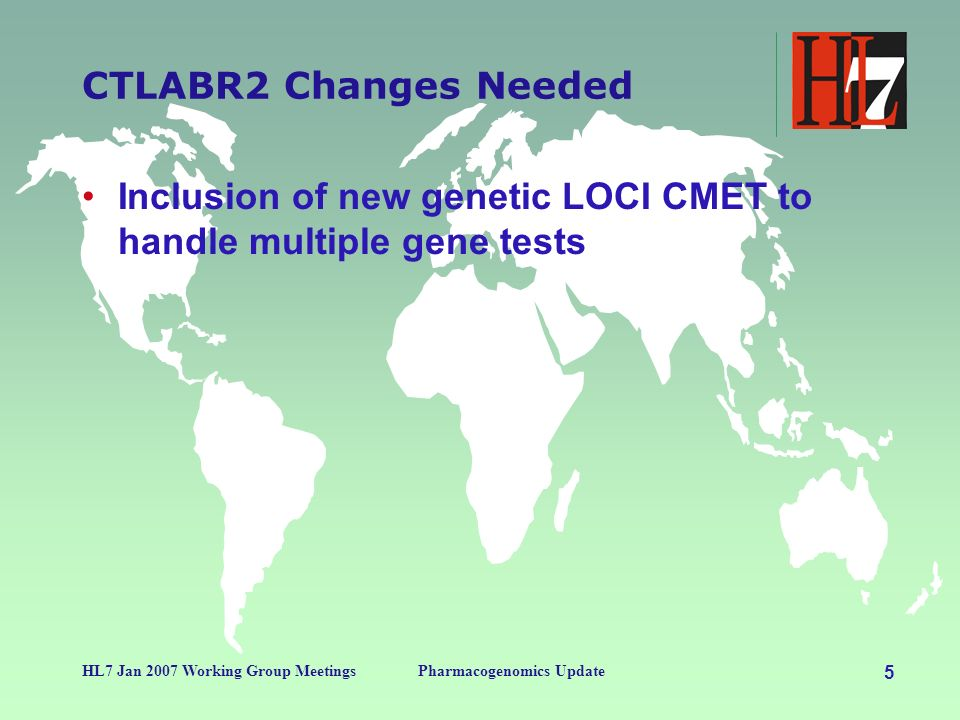 4 HL7 Jan 2007 Working Group MeetingsPharmacogenomics Update SDTM Domain Assumptions CDISC PG Domain Content Specimen Data Specimen Preparation Results Testing Methods Mainly Derived from RCRIM/CTLAB CDISC PR Domain Genetic Results Interpretation of Results Links to Scientific databases Mainly Derived from CG CMETs