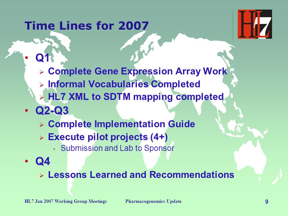 9 HL7 Jan 2007 Working Group MeetingsPharmacogenomics Update Time Lines for 2007 Q1 Complete Gene Expression Array Work Informal Vocabularies Completed HL7 XML to SDTM mapping completed Q2-Q3 Complete Implementation Guide Execute pilot projects (4+) Submission and Lab to Sponsor Q4 Lessons Learned and Recommendations