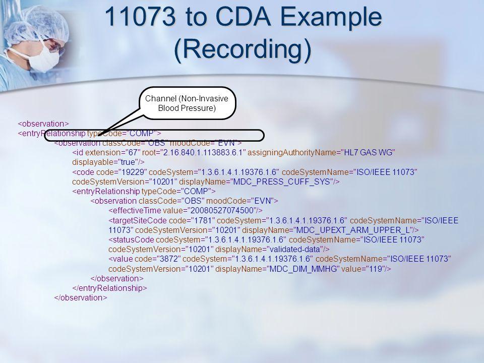 11073 to CDA Example (Recording) Channel (Non-Invasive Blood Pressure)