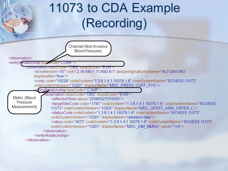 11073 to CDA Example (Recording) Channel (Non-Invasive Blood Pressure) Metric (Blood Pressure Measurement)