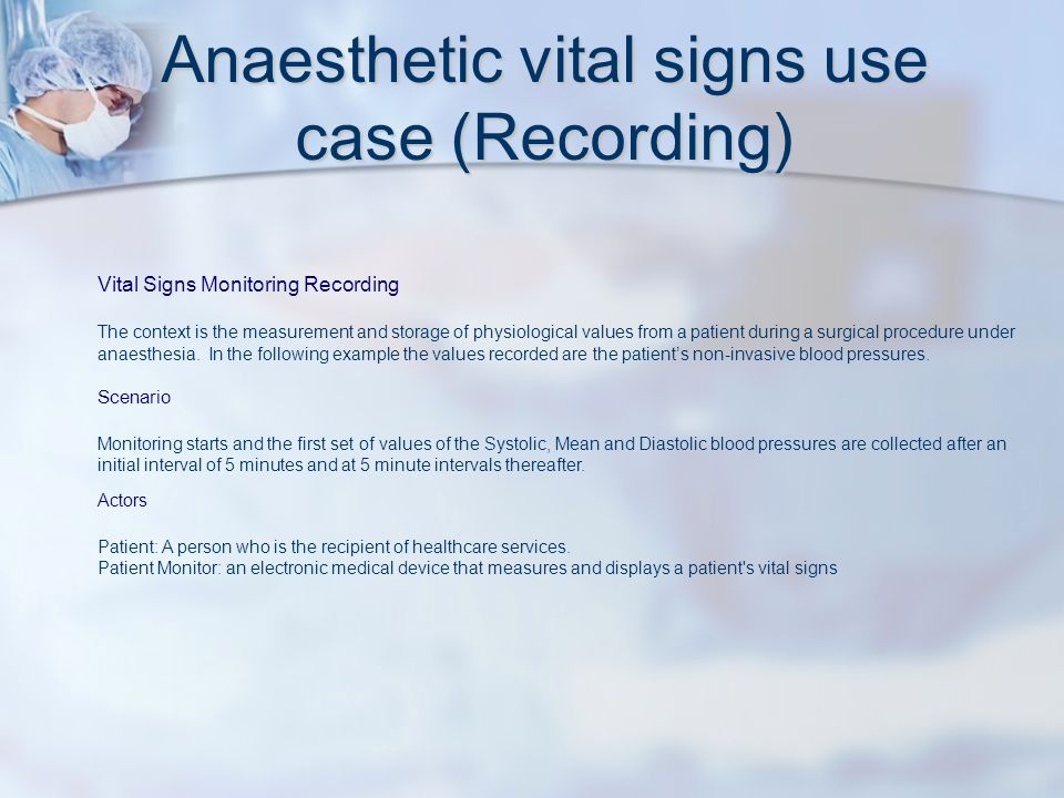 Vital Signs Monitoring Recording The context is the measurement and storage of physiological values from a patient during a surgical procedure under anaesthesia.
