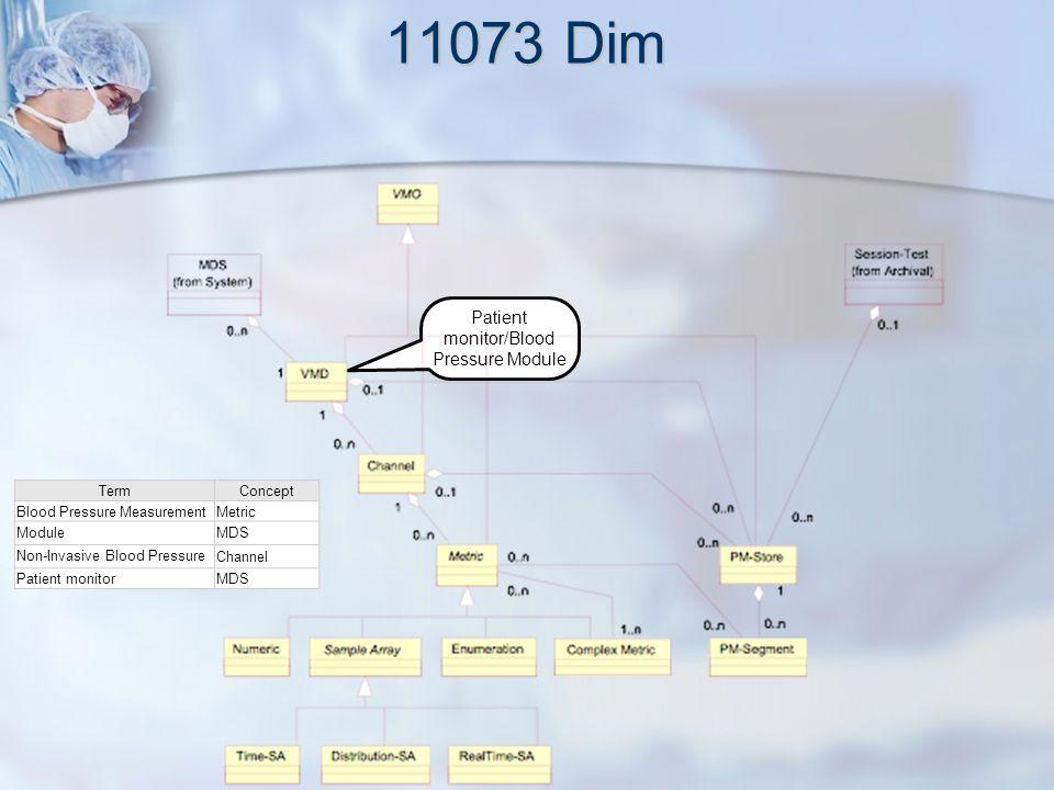 11073 Dim Patient monitor/Blood Pressure Module Non-Invasive Blood Pressure TermConcept Blood Pressure MeasurementMetric ModuleMDS Non-Invasive Blood Pressure Channel Patient monitorMDS