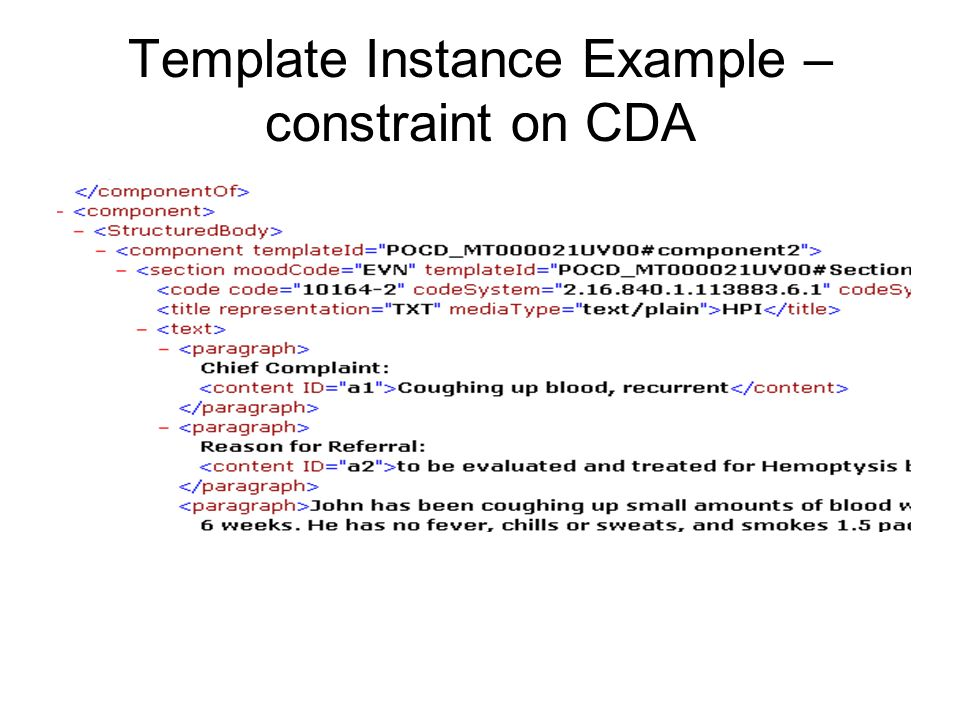 Template Instance Example – constraint on CDA