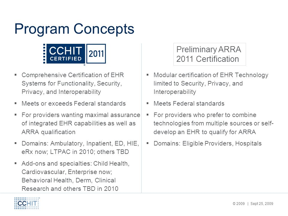 © 2009 | Sept 25, 2009 Program Concepts Comprehensive Certification of EHR Systems for Functionality, Security, Privacy, and Interoperability Meets or