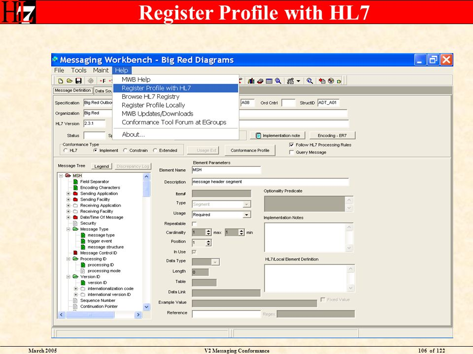 March 2005V2 Messaging Conformance106 of 122 Register Profile with HL7