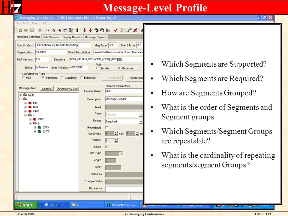 March 2005V2 Messaging Conformance118 of 122 Message-Level Profile Which Segments are Supported? Which Segments are Required? How are Segments Grouped