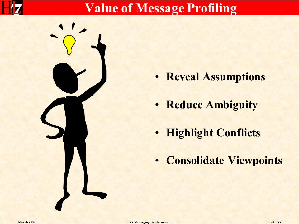 March 2005V2 Messaging Conformance18 of 122 Value of Message Profiling Reveal Assumptions Reduce Ambiguity Highlight Conflicts Consolidate Viewpoints