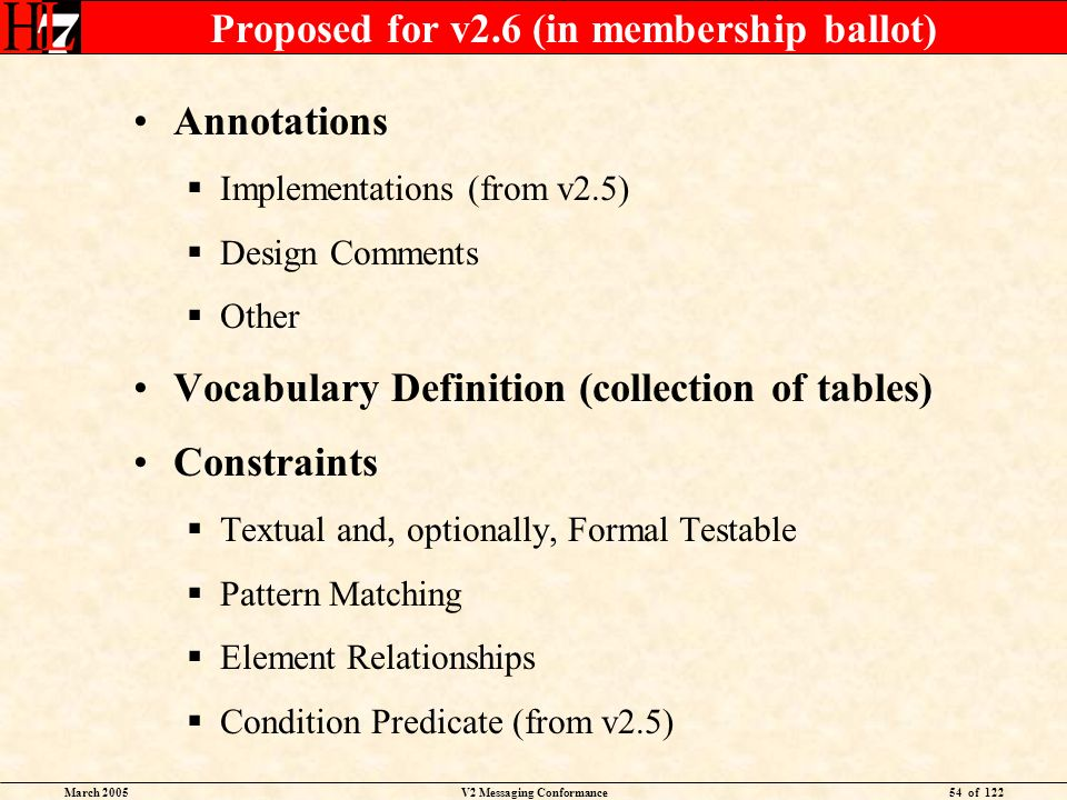 March 2005V2 Messaging Conformance54 of 122 Proposed for v2.6 (in membership ballot) Annotations Implementations (from v2.5) Design Comments Other Voc