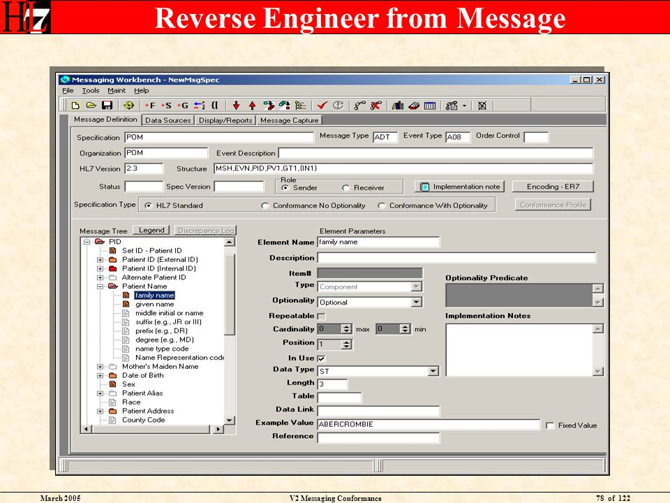 March 2005V2 Messaging Conformance78 of 122 Reverse Engineer from Message