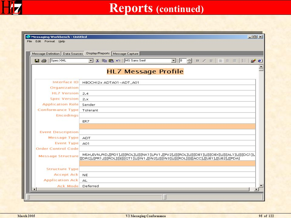March 2005V2 Messaging Conformance95 of 122 Reports (continued)