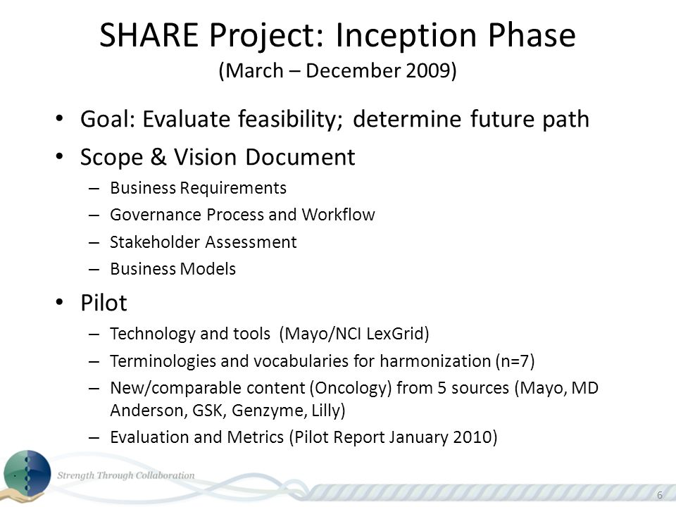 66 SHARE Project: Inception Phase (March – December 2009) Goal: Evaluate feasibility; determine future path Scope & Vision Document – Business Requirements – Governance Process and Workflow – Stakeholder Assessment – Business Models Pilot – Technology and tools (Mayo/NCI LexGrid) – Terminologies and vocabularies for harmonization (n=7) – New/comparable content (Oncology) from 5 sources (Mayo, MD Anderson, GSK, Genzyme, Lilly) – Evaluation and Metrics (Pilot Report January 2010)