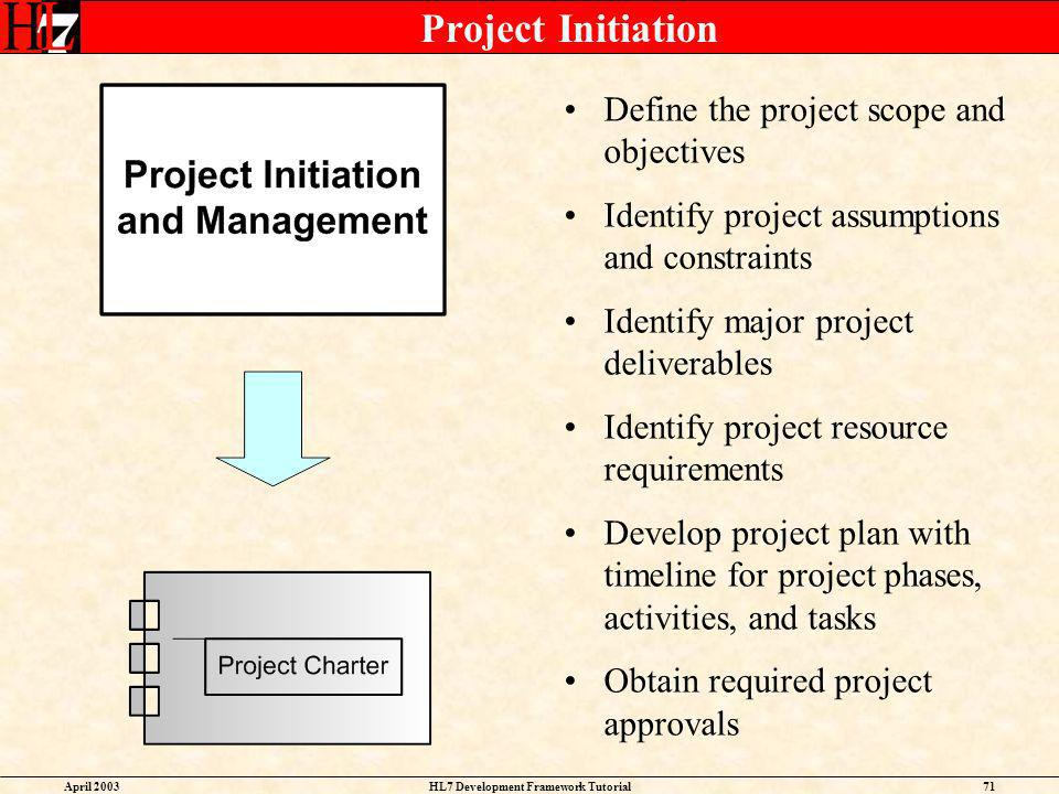 April 2003HL7 Development Framework Tutorial71 Project Initiation Define the project scope and objectives Identify project assumptions and constraints