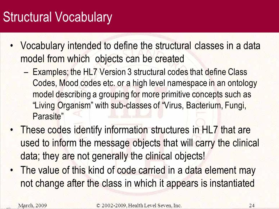March, 2009 23© 2002-2009, Health Level Seven, Inc. Value Sets A Value Set represents a uniquely identifiable set of valid concept representations, wh