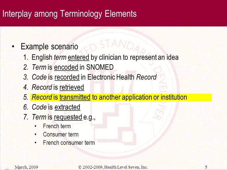 March, 2009 4© 2002-2009, Health Level Seven, Inc. Structured Terminology Elements Concepts represent unique ideas Codes uniquely identify concepts Te