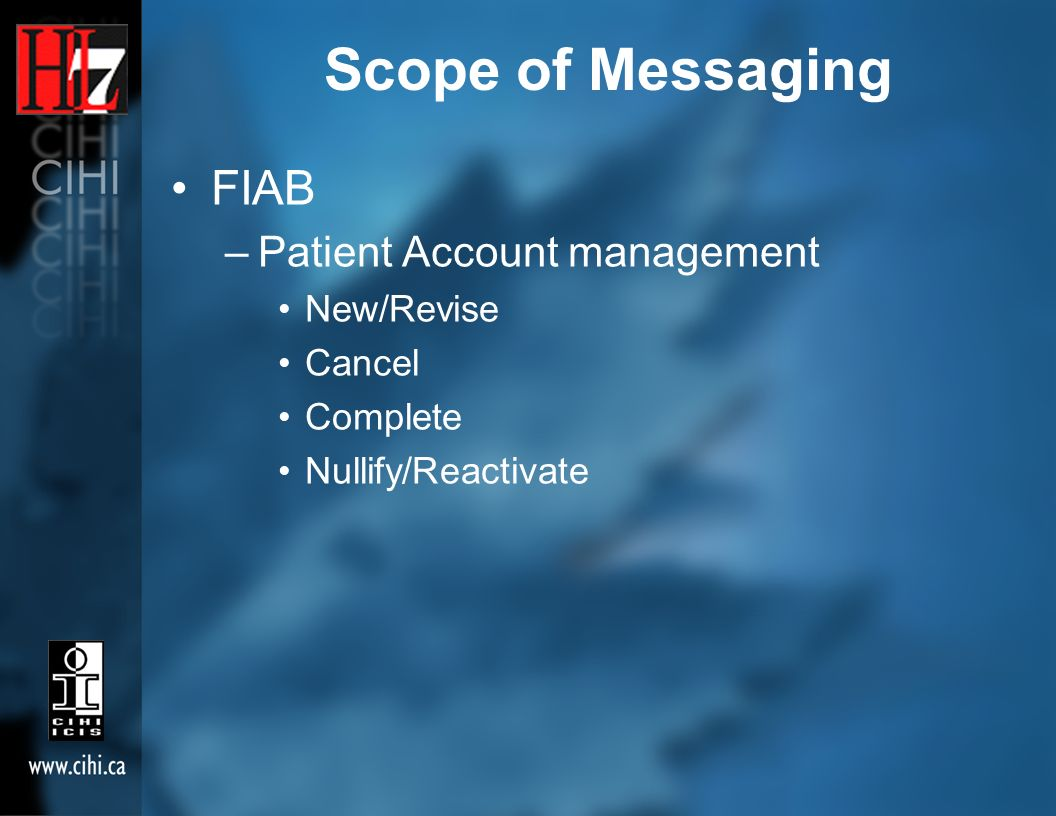 Scope of Messaging FIAB –Patient Account management New/Revise Cancel Complete Nullify/Reactivate