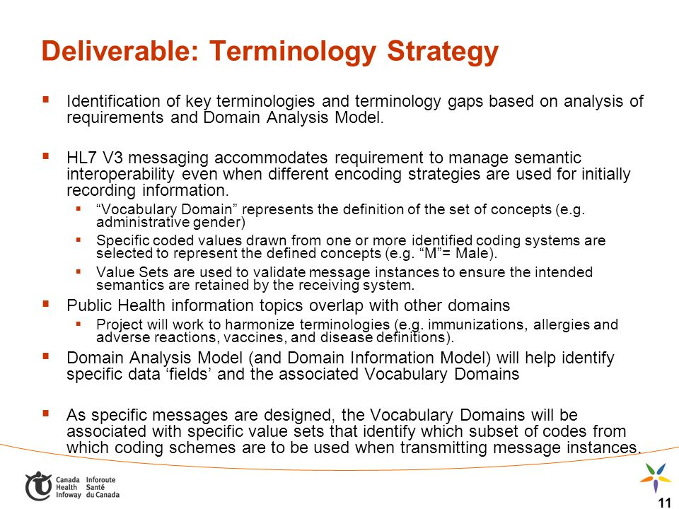 11 Deliverable: Terminology Strategy Identification of key terminologies and terminology gaps based on analysis of requirements and Domain Analysis Mo