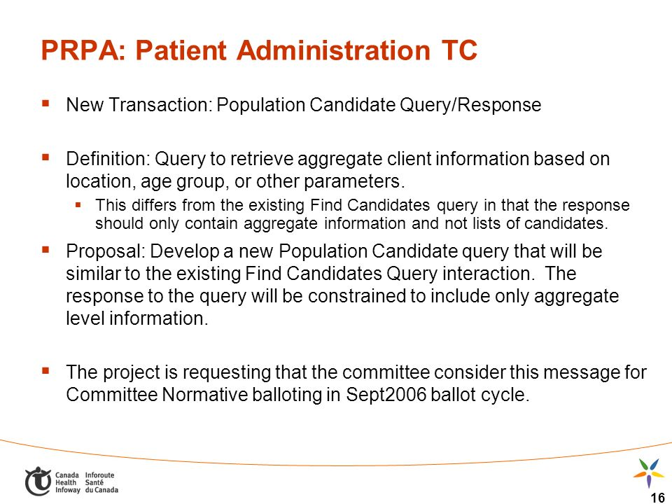 16 PRPA: Patient Administration TC New Transaction: Population Candidate Query/Response Definition: Query to retrieve aggregate client information bas