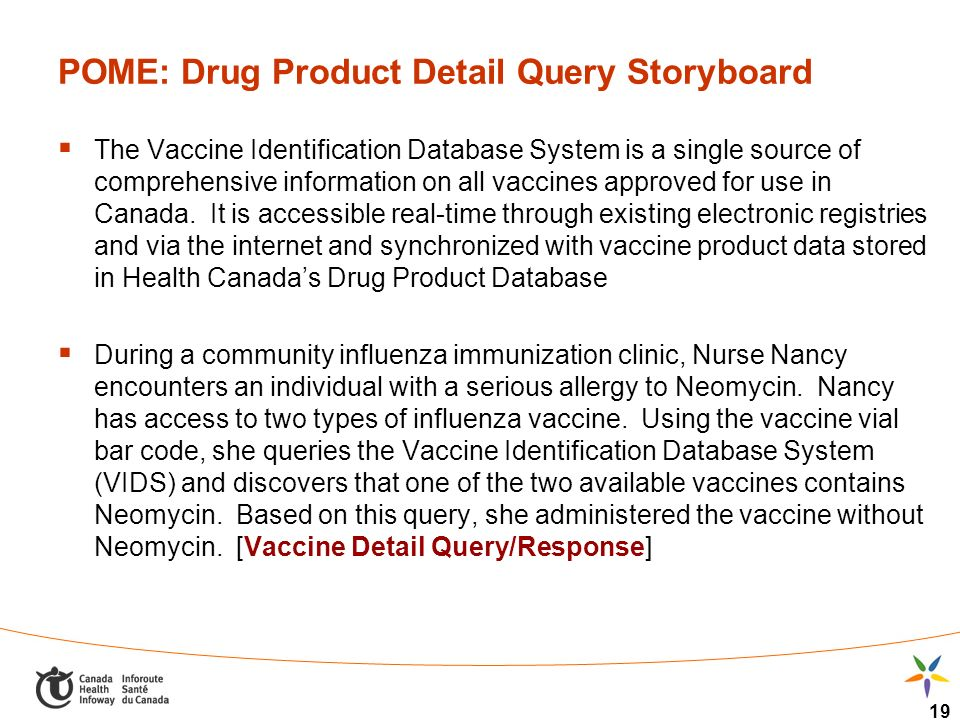 19 POME: Drug Product Detail Query Storyboard The Vaccine Identification Database System is a single source of comprehensive information on all vaccin