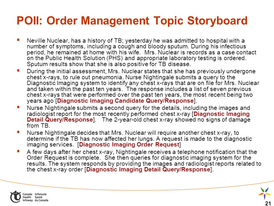 21 POII: Order Management Topic Storyboard Neville Nuclear, has a history of TB; yesterday he was admitted to hospital with a number of symptoms, including a cough and bloody sputum.