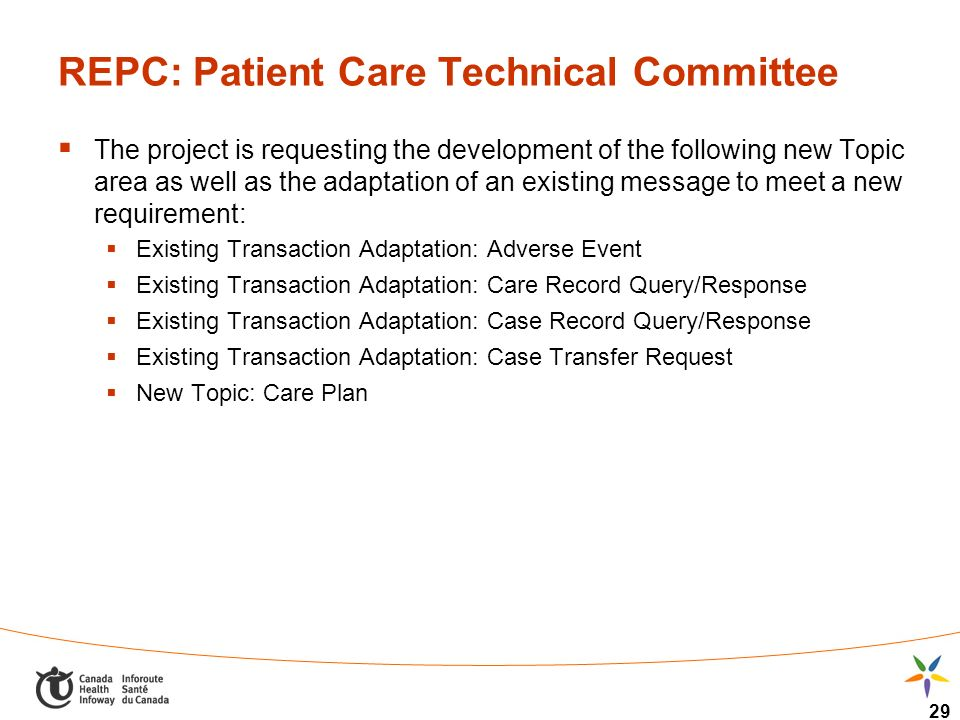 29 REPC: Patient Care Technical Committee The project is requesting the development of the following new Topic area as well as the adaptation of an ex