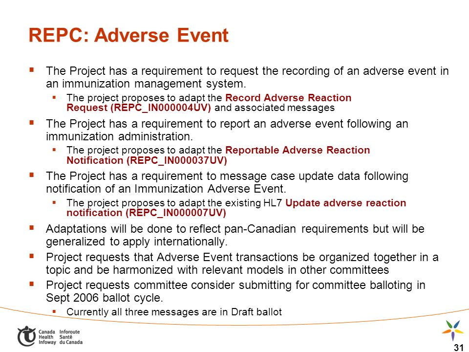 31 REPC: Adverse Event The Project has a requirement to request the recording of an adverse event in an immunization management system. The project pr