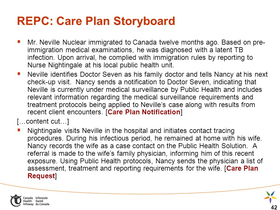 42 REPC: Care Plan Storyboard Mr. Neville Nuclear immigrated to Canada twelve months ago. Based on pre- immigration medical examinations, he was diagn