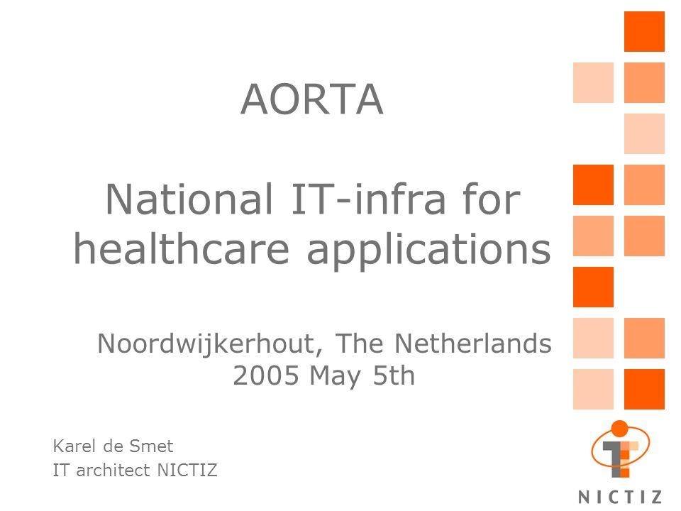 AORTA National IT-infra for healthcare applications Karel de Smet IT architect NICTIZ Noordwijkerhout, The Netherlands 2005 May 5th