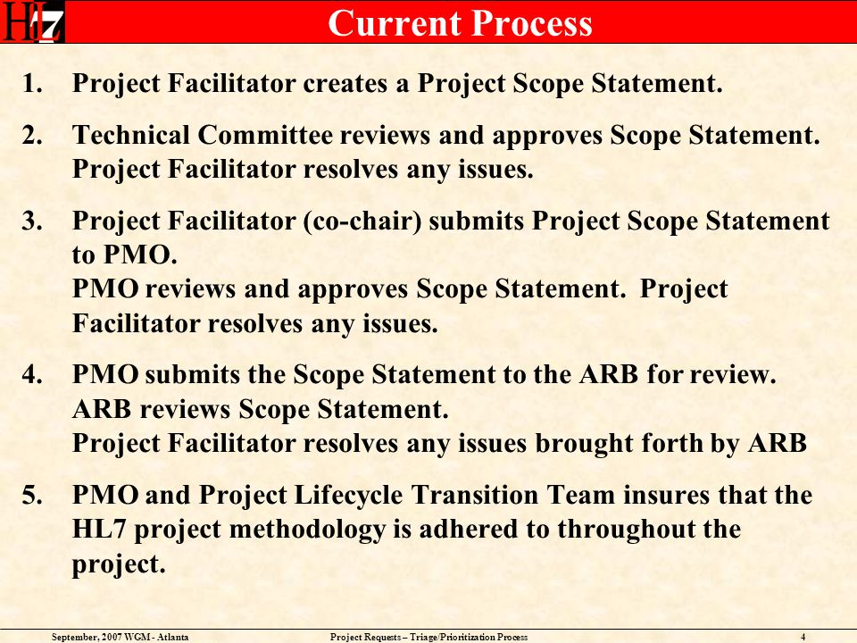 September, 2007 WGM - AtlantaProject Requests – Triage/Prioritization Process4 Current Process 1.Project Facilitator creates a Project Scope Statement