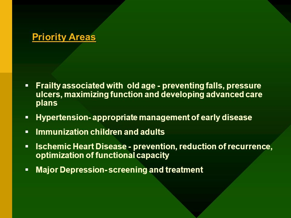Frailty associated with old age - preventing falls, pressure ulcers, maximizing function and developing advanced care plans Hypertension- appropriate