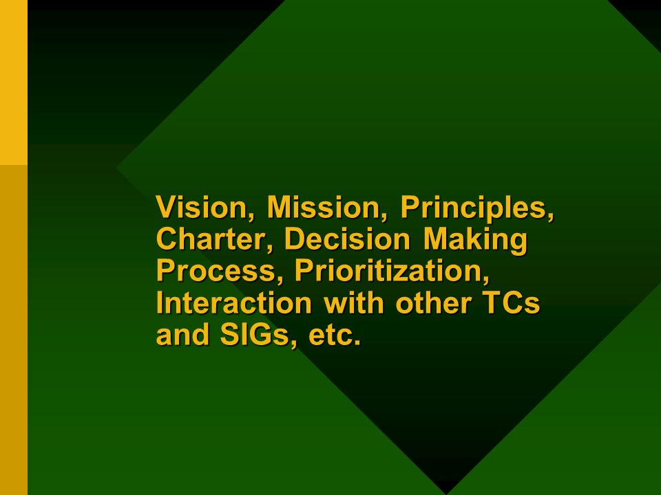 Vision, Mission, Principles, Charter, Decision Making Process, Prioritization, Interaction with other TCs and SIGs, etc.