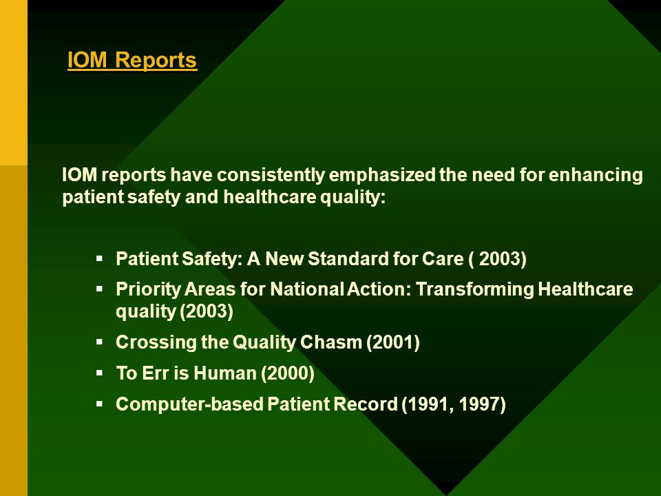 IOM Reports IOM reports have consistently emphasized the need for enhancing patient safety and healthcare quality: Patient Safety: A New Standard for