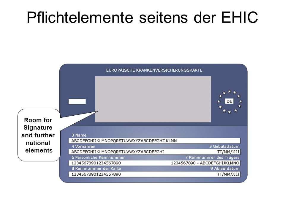 Pflichtelemente seitens der EHIC Room for Signature and further national elements