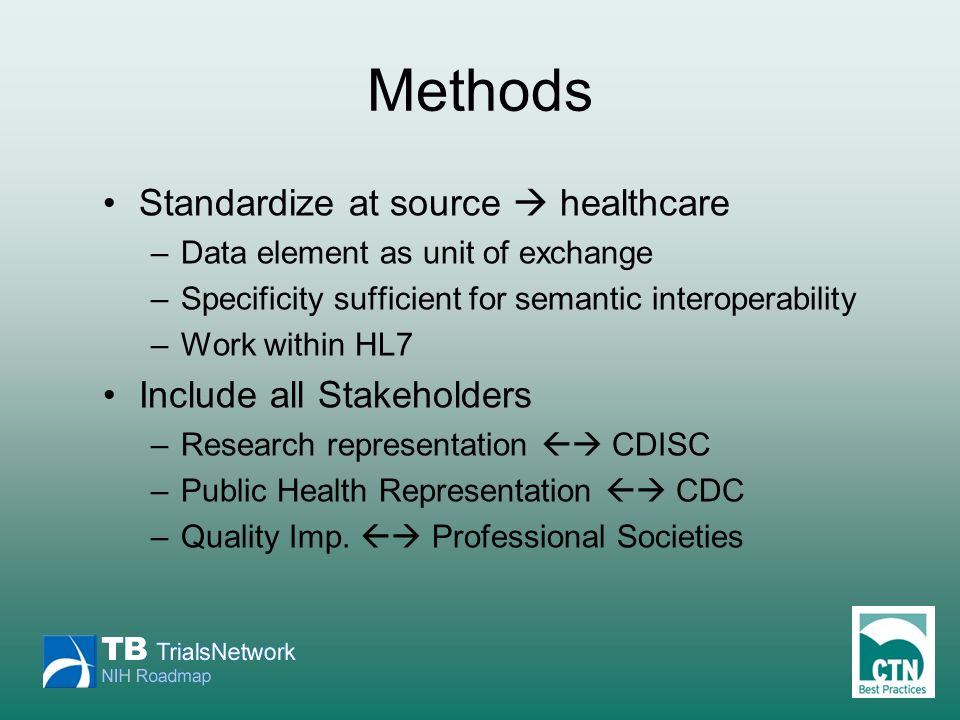 Methods Standardize at source healthcare –Data element as unit of exchange –Specificity sufficient for semantic interoperability –Work within HL7 Incl