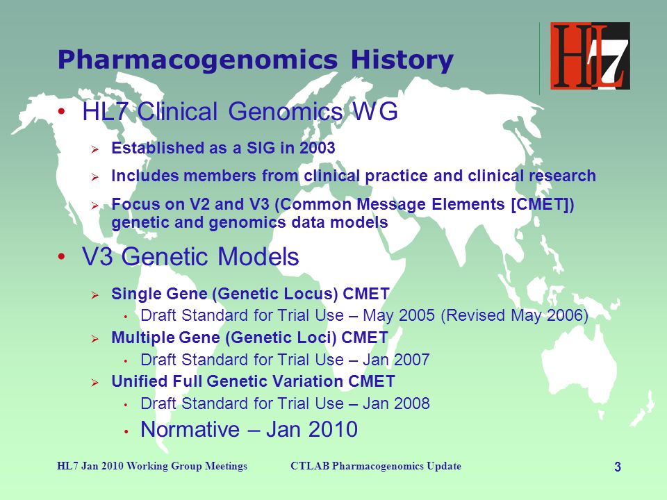 3 HL7 Jan 2010 Working Group MeetingsCTLAB Pharmacogenomics Update Pharmacogenomics History HL7 Clinical Genomics WG Established as a SIG in 2003 Includes members from clinical practice and clinical research Focus on V2 and V3 (Common Message Elements [CMET]) genetic and genomics data models V3 Genetic Models Single Gene (Genetic Locus) CMET Draft Standard for Trial Use – May 2005 (Revised May 2006) Multiple Gene (Genetic Loci) CMET Draft Standard for Trial Use – Jan 2007 Unified Full Genetic Variation CMET Draft Standard for Trial Use – Jan 2008 Normative – Jan 2010