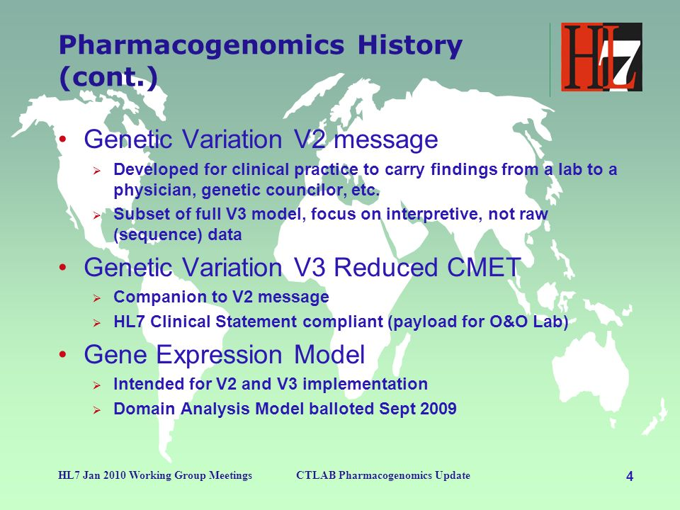 4 HL7 Jan 2010 Working Group MeetingsCTLAB Pharmacogenomics Update Pharmacogenomics History (cont.) Genetic Variation V2 message Developed for clinica