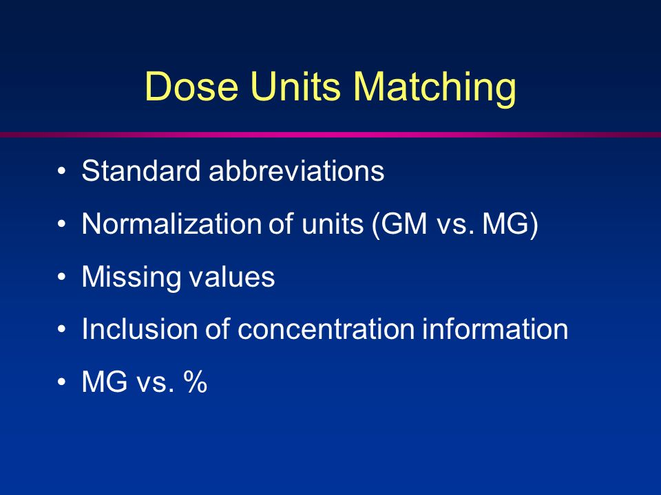 Dose Units Matching Standard abbreviations Normalization of units (GM vs. MG) Missing values Inclusion of concentration information MG vs. %