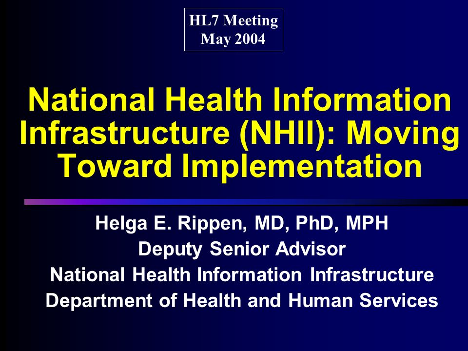 National Health Information Infrastructure (NHII): Moving Toward Implementation Helga E.