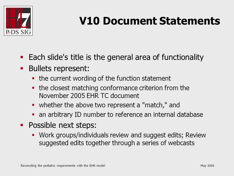 Reconciling the pediatric requirements with the EHR model May 2006 V10 Document Statements Each slide's title is the general area of functionality Bul