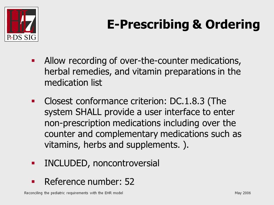 Reconciling the pediatric requirements with the EHR model May 2006 Allow recording of over-the-counter medications, herbal remedies, and vitamin prepa