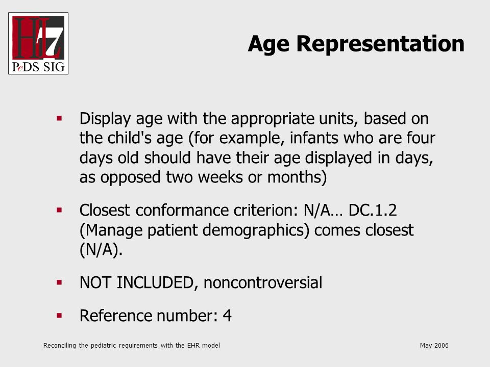Reconciling the pediatric requirements with the EHR model May 2006 Display age with the appropriate units, based on the child's age (for example, infa