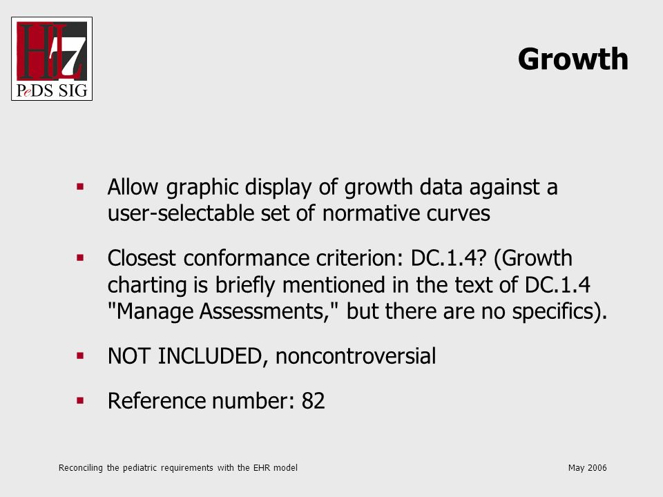 Reconciling the pediatric requirements with the EHR model May 2006 Allow graphic display of growth data against a user-selectable set of normative cur