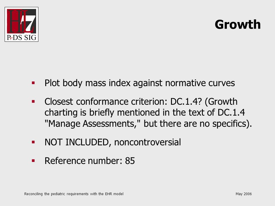 Reconciling the pediatric requirements with the EHR model May 2006 Plot body mass index against normative curves Closest conformance criterion: DC.1.4