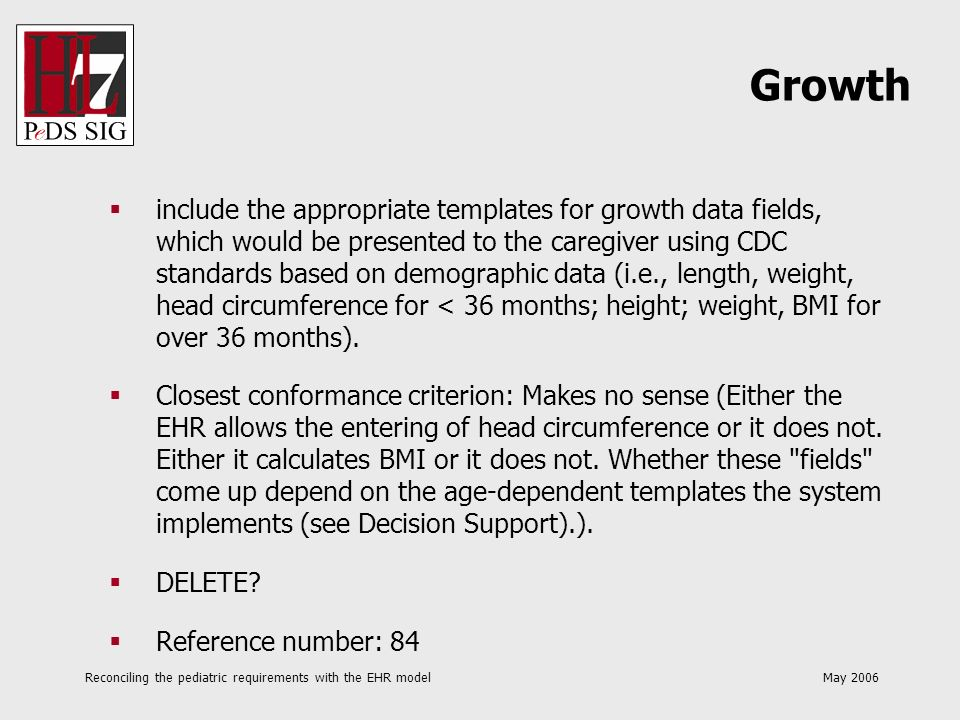 Reconciling the pediatric requirements with the EHR model May 2006 include the appropriate templates for growth data fields, which would be presented